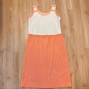 1970s Knit and Peach Terry Cloth Dress